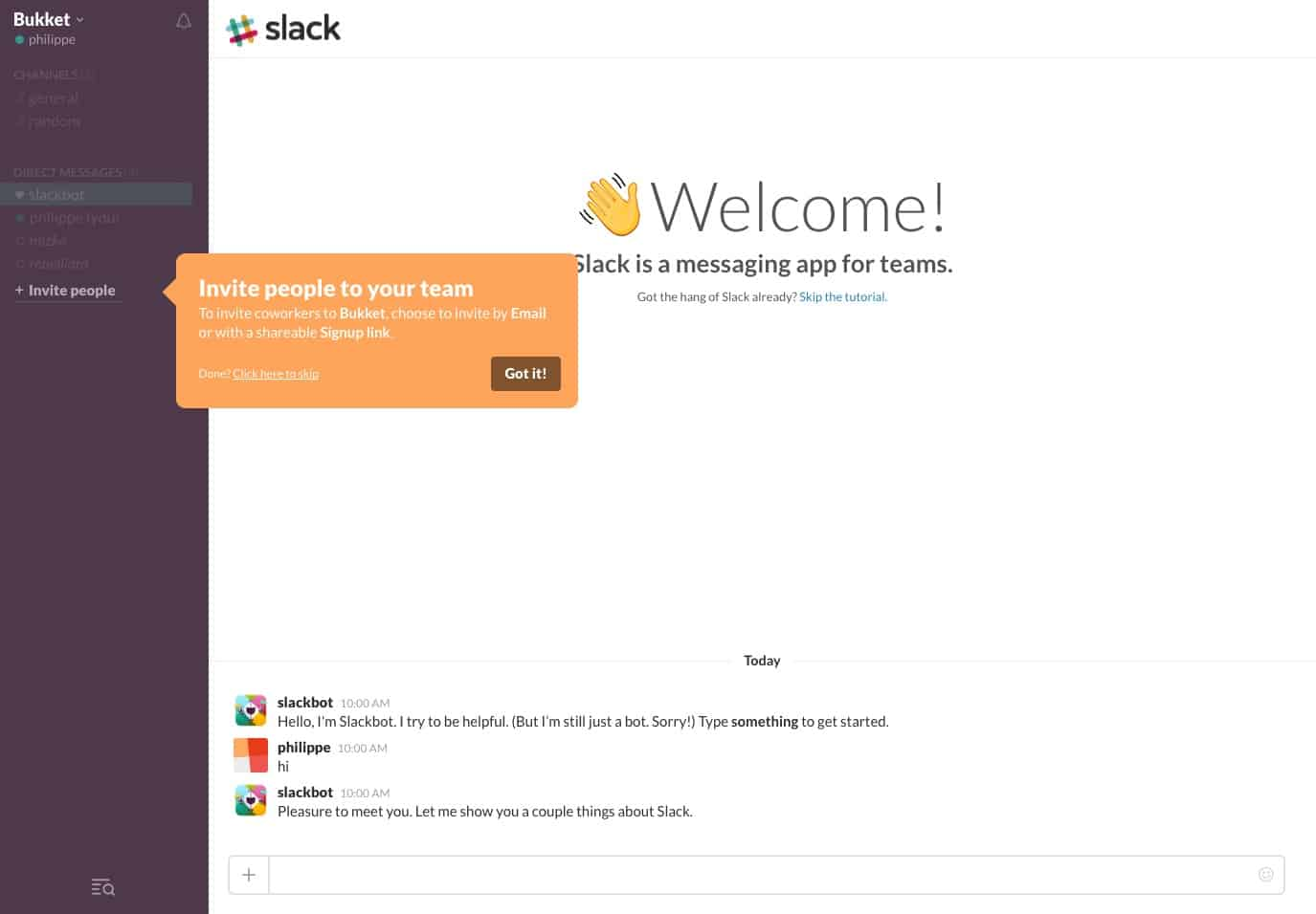 Slack Onboarding on Web from UIGarage