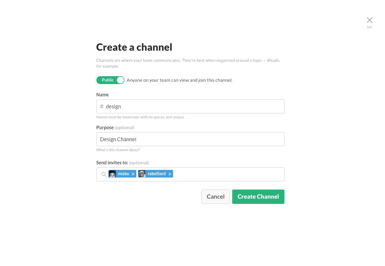 Create channel on Slack