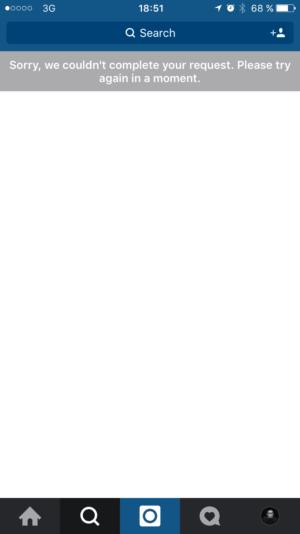 Error message on @Instagram iOS from UIGarage