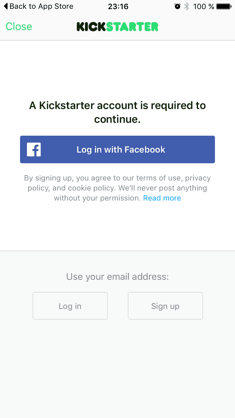 Login page on @kickStarter iOS