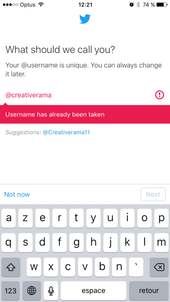 Error message on @twitter iOS from UIGarage