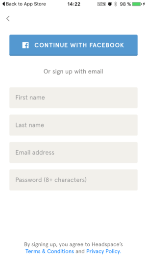 Signup on Headspace iOS from UIGarage