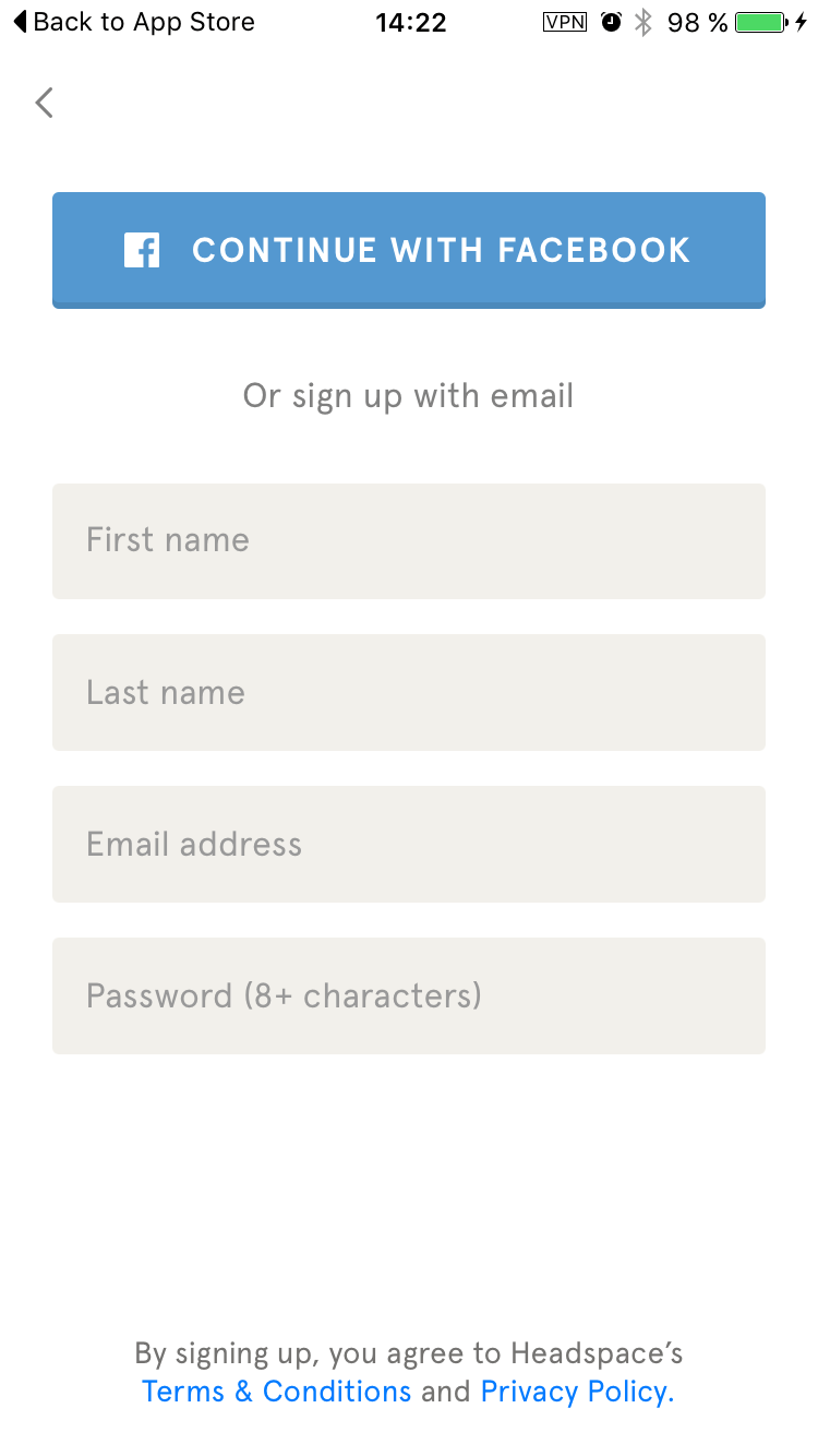 Signup on Headspace iOS