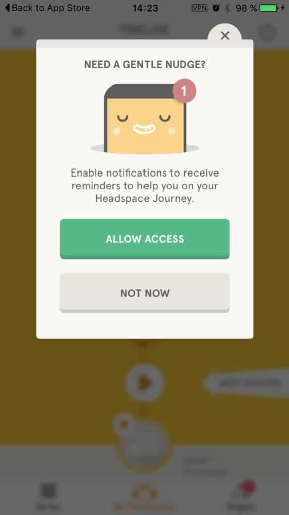 Allow permission on Headspace iOS Ask Permission iOS  - UI Garage - The database of UI