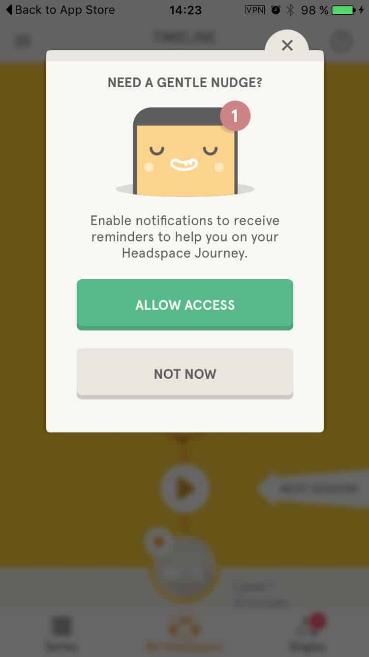 Allow permission on Headspace iOS
