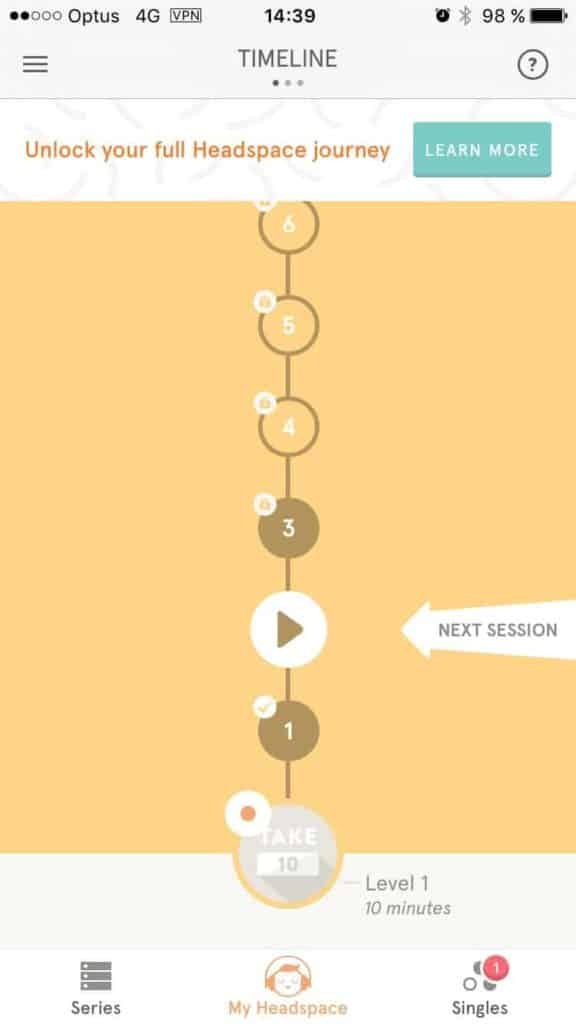 Timeline on Headspace on iOS iOS Stepper Timeline  - UI Garage - The database of UI