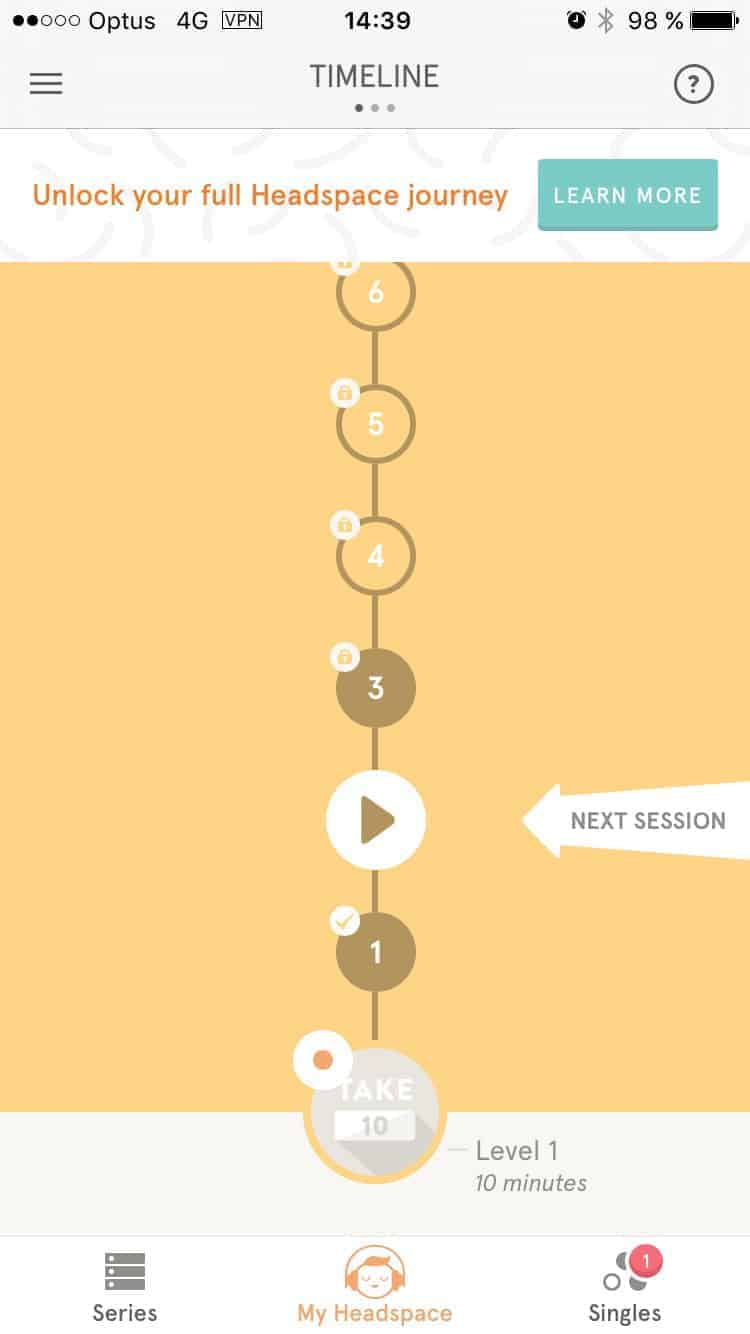 Timeline on Headspace on iOS