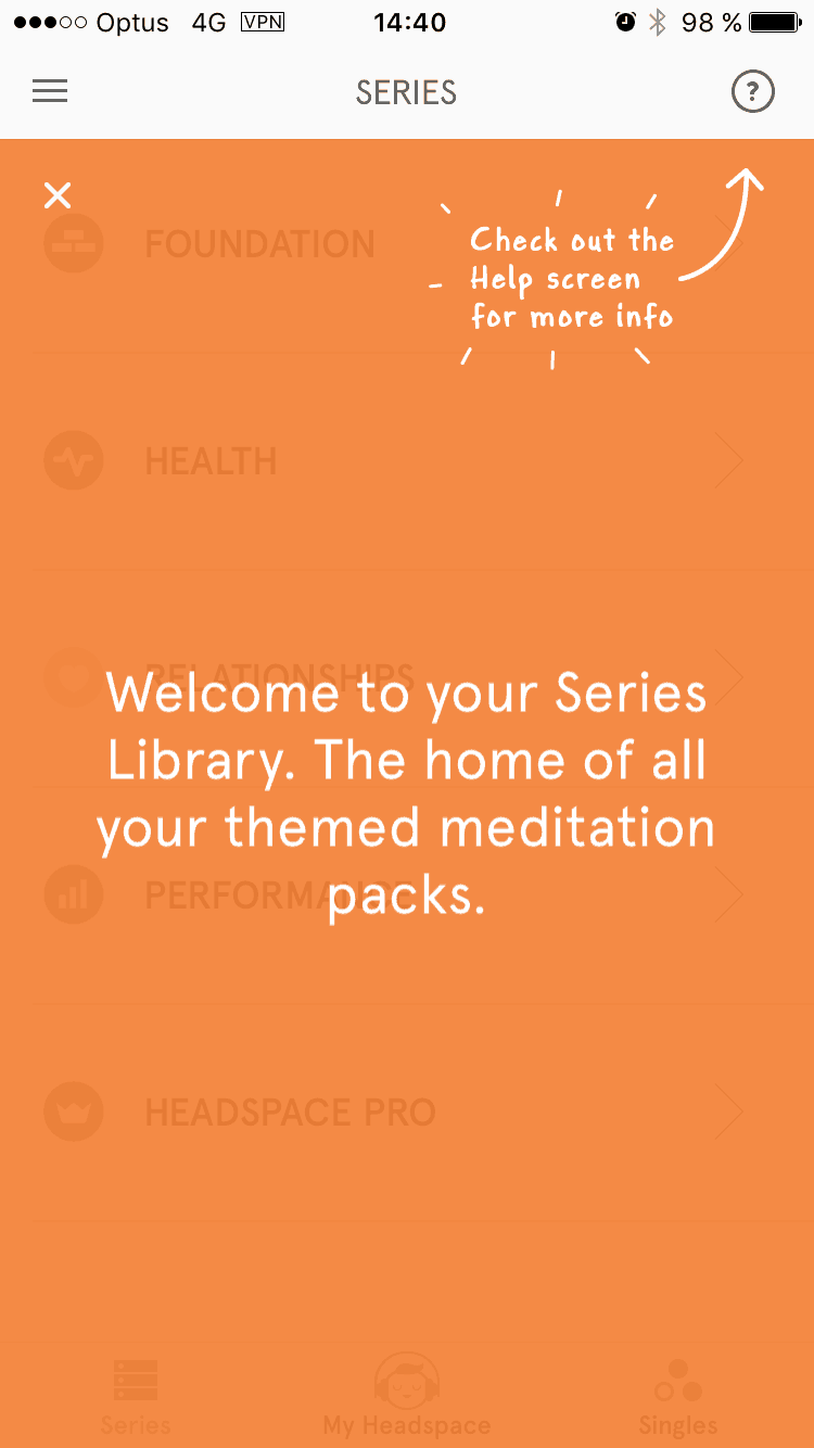 Tutorial on Headspace on iOS