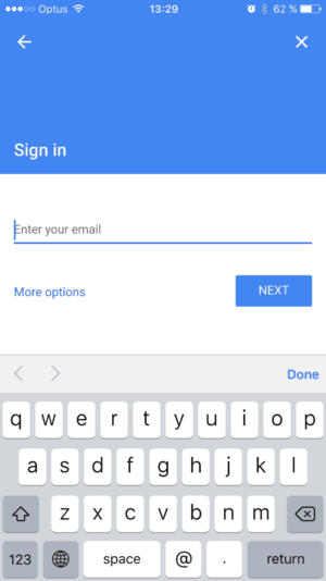 Sign in / Add account on google iOS from UIGarage