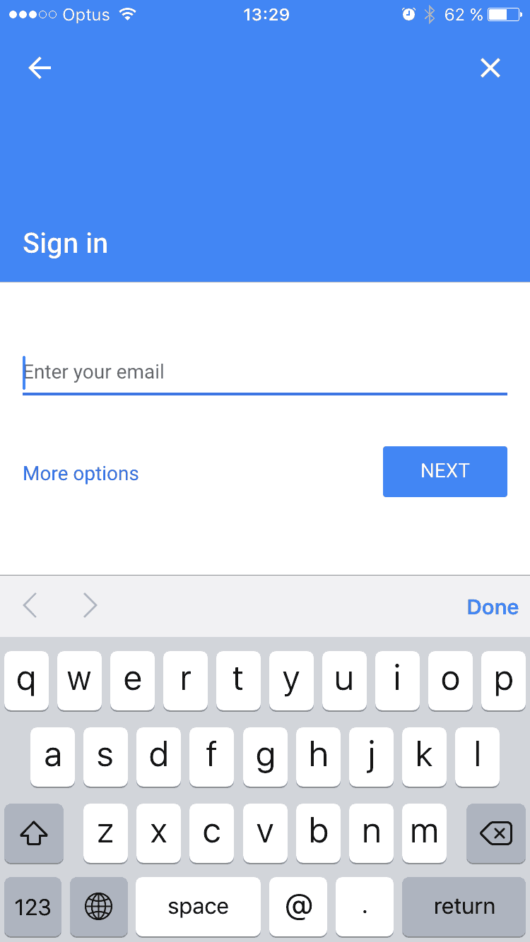 Sign in / Add account on google iOS