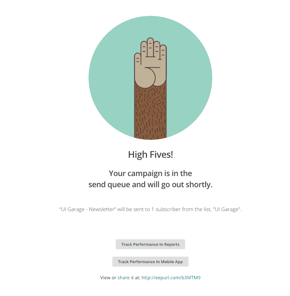 Congrats page on @mailchimp Congrats Web  - UI Garage - The database of UI