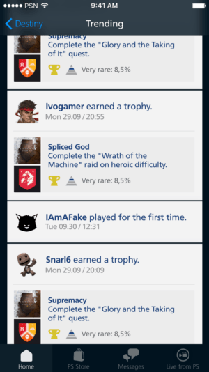 Trending page on PS Redesign from UIGarage