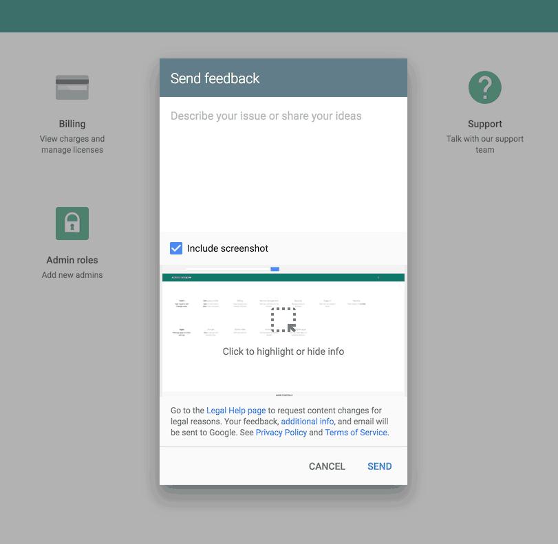@google feedback form