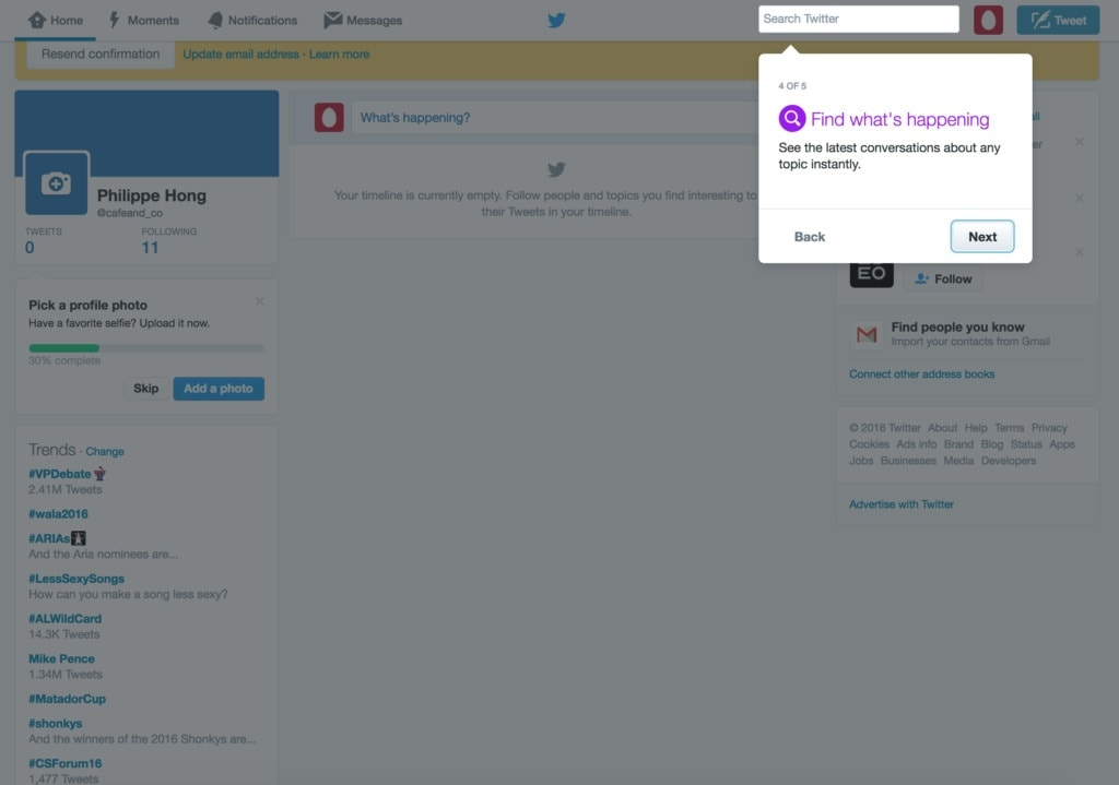 Tutorial walkthrough on Twitter Tutorial Walkthrough Web  - UI Garage - The database of UI