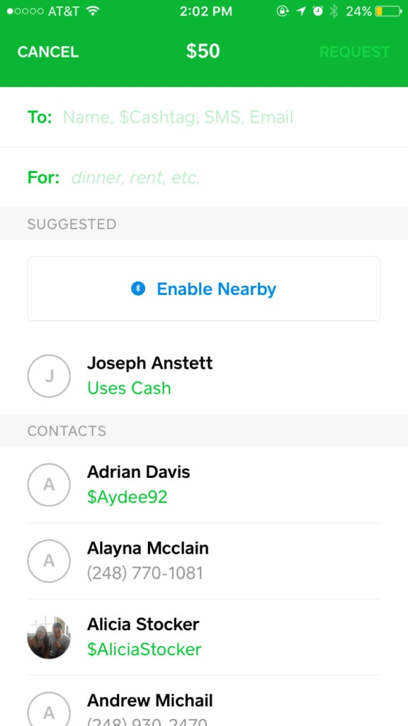 Square Cash User Profile from UIGarage