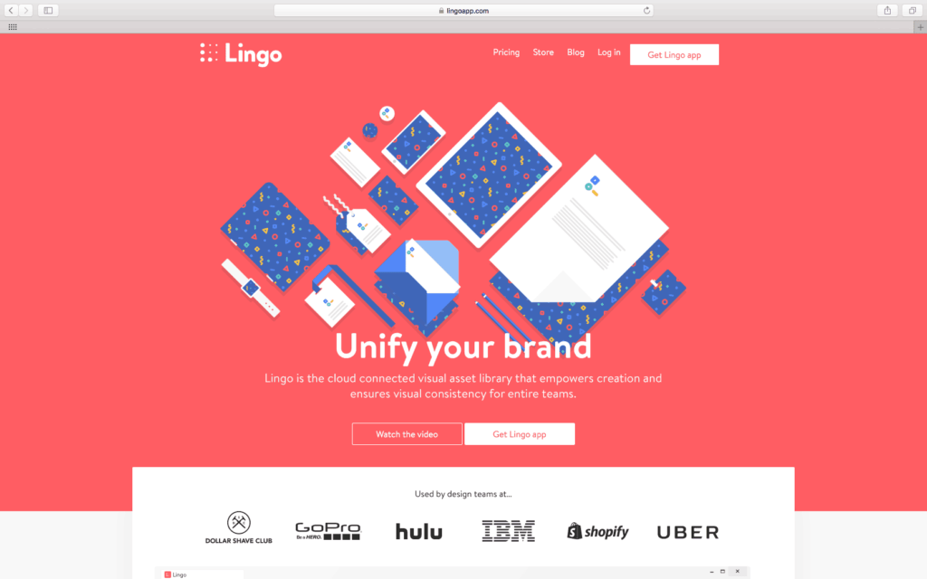 Lingo App Homepage from UIGarage