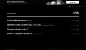 VSCO Homepage from UIGarage