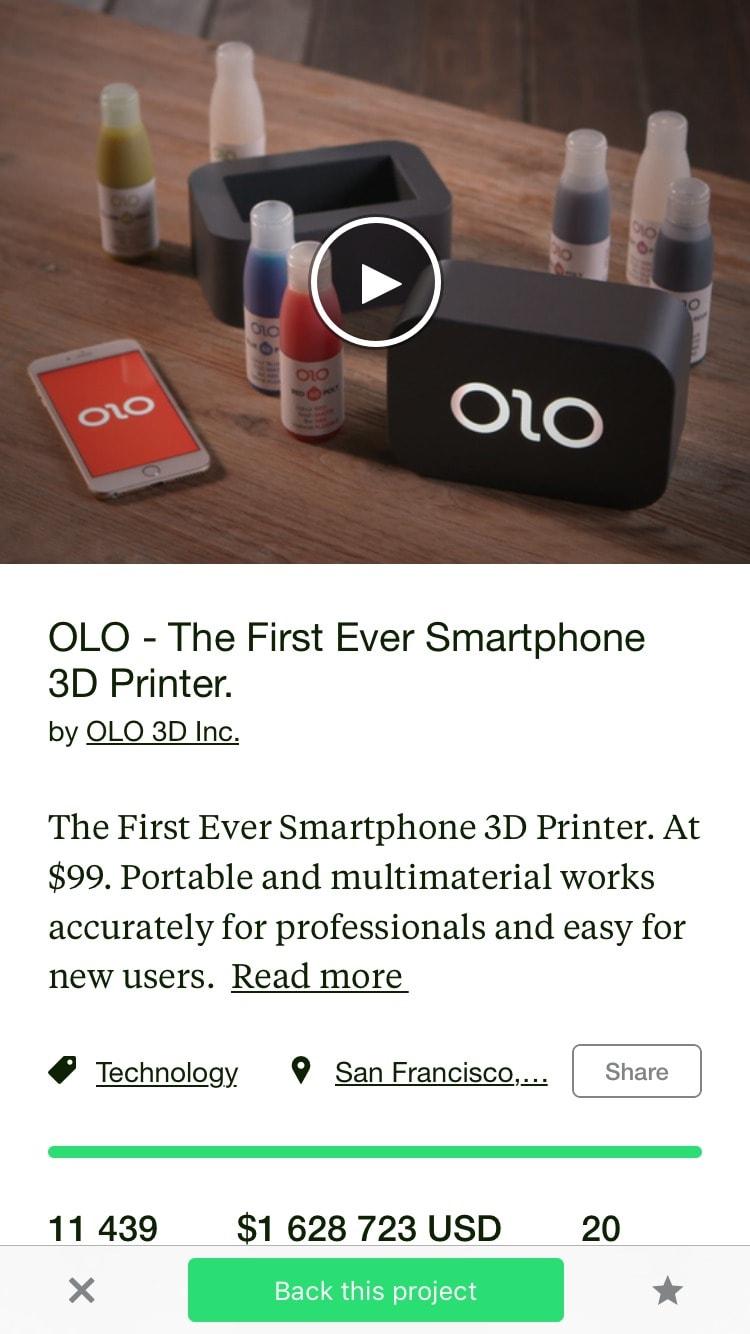 Kickstarter Content Screen