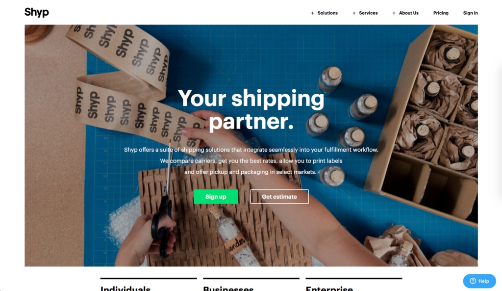 Shyp Signup / Homepage from UIGarage