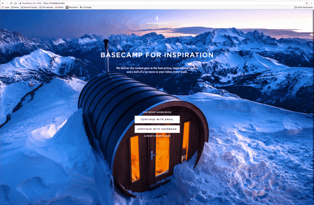Huckberry Landing Page from UIGarage