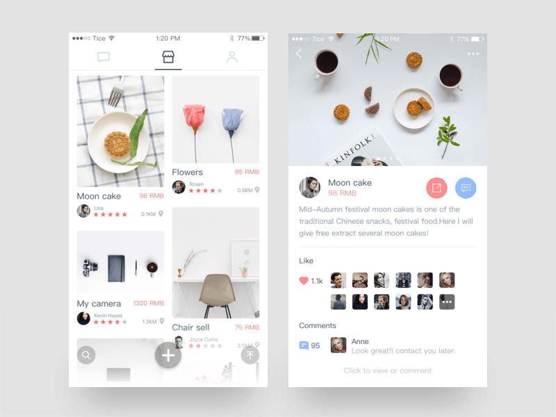Tice Newsfeed Dashboard Gallery Grid Message Mobile Pricing Product View  - UI Garage - The database of UI