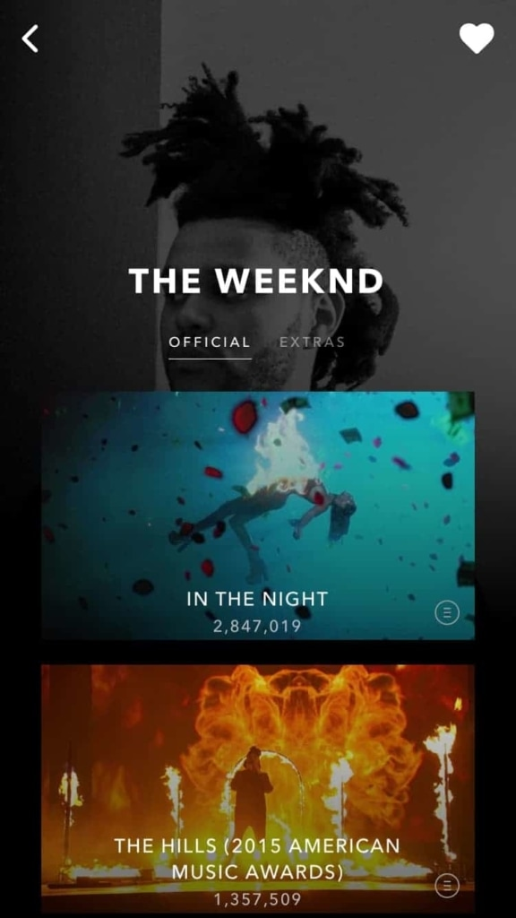 Vevo Inspiration All iOS Launch Screen List Mobile Navigation Profile  - UI Garage - The database of UI