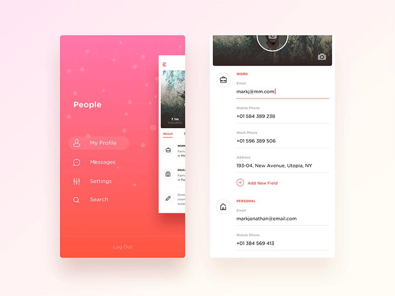 Wip Social Forms Forms Menu Mobile Profile  - UI Garage - The database of UI