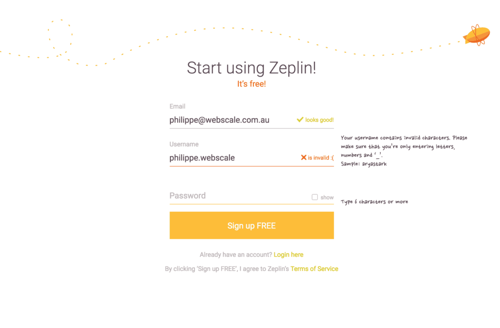 Zeplin-Login Error All Error Messages Forms Login Signup Web  - UI Garage - The database of UI