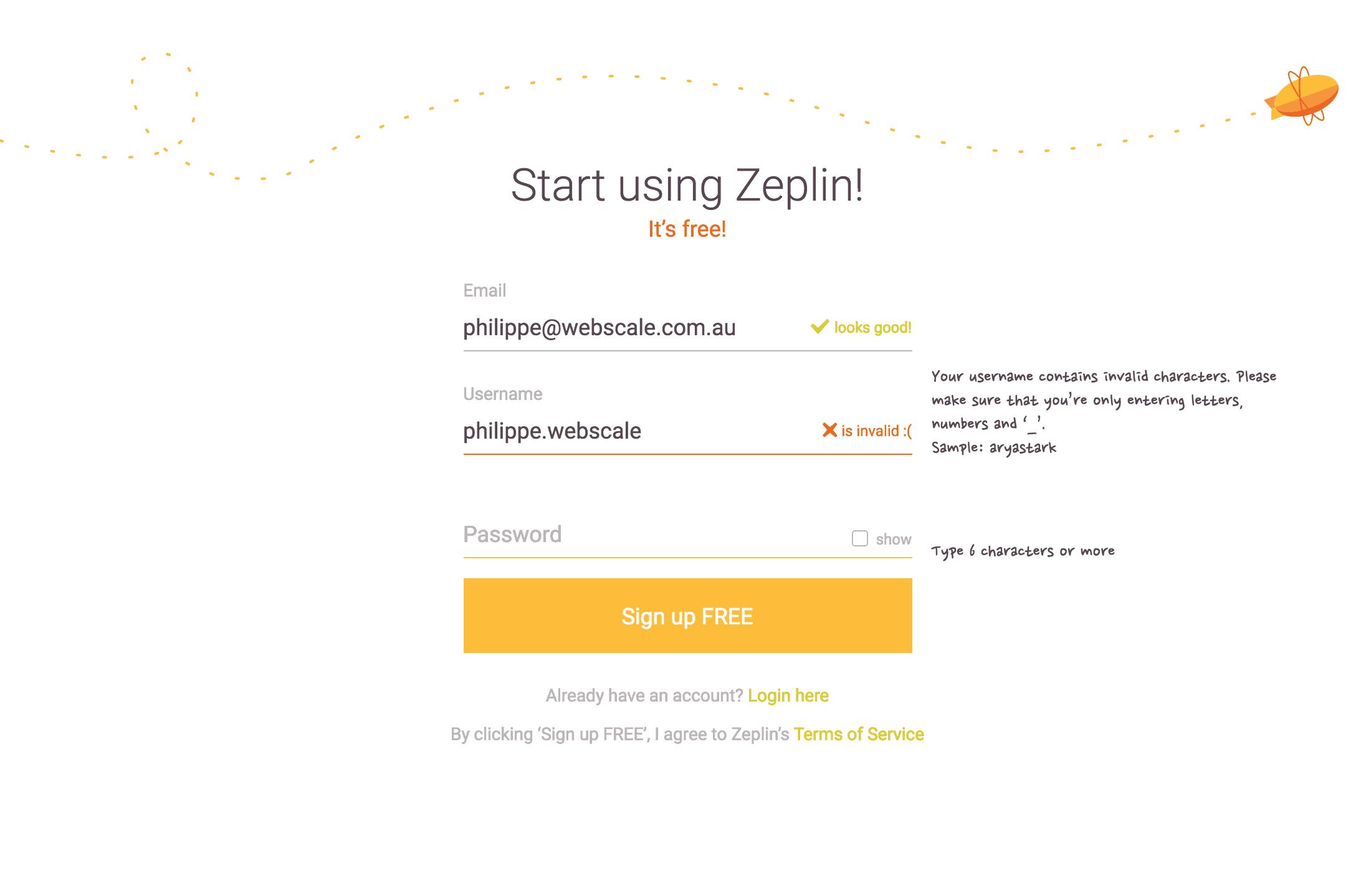 Zeplin-Login Error