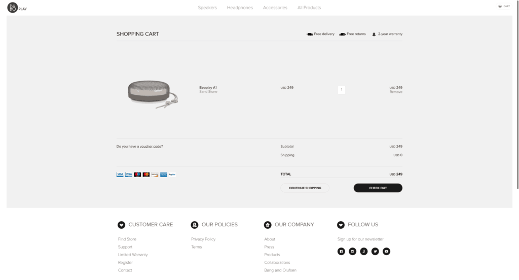 BeoPlay Cart All Cart Checkout Mac Pricing Product View Web  - UI Garage - The database of UI