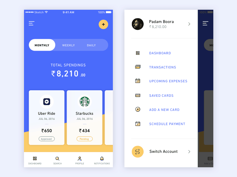 Banking App Inspiration - Daily UI Design Inspiration