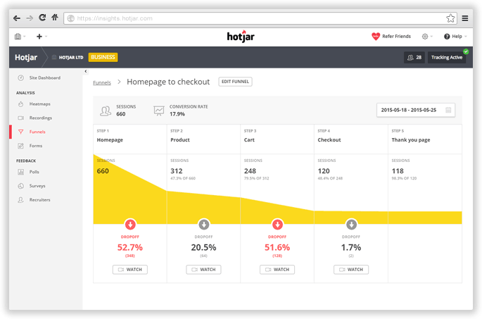 Hotjar  - UI Garage - The database of UI
