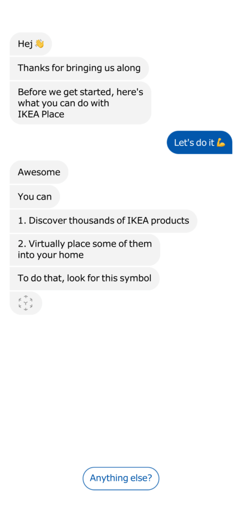 Onboarding by Ikea Place All iOS Message Onboarding  - UI Garage - The database of UI