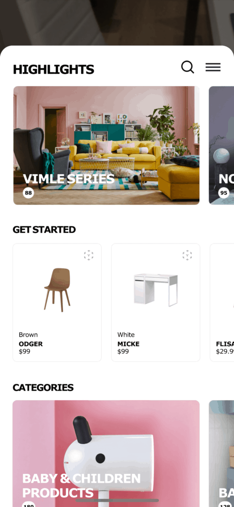 Homepage by Ikea Place All Homepage iOS  - UI Garage - The database of UI