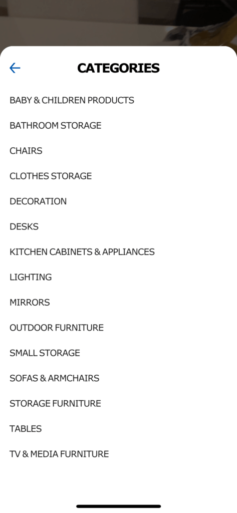 Categories list by Ikea Place from UIGarage