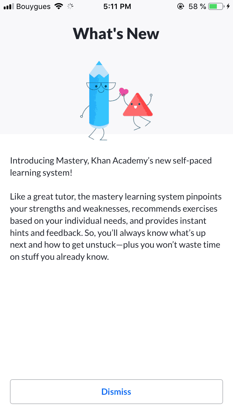 What's New by Khan Academy iOS Notifications What's new  - UI Garage - The database of UI