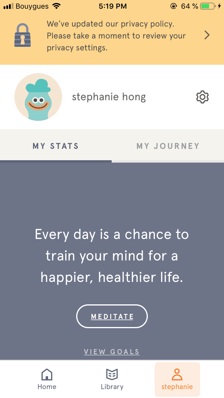 Profile Menu by Headspace