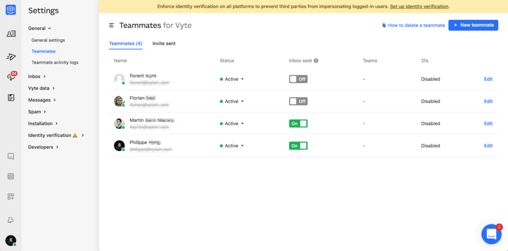 Teammate settings on Intercom Dashboard Settings Web  - UI Garage - The database of UI