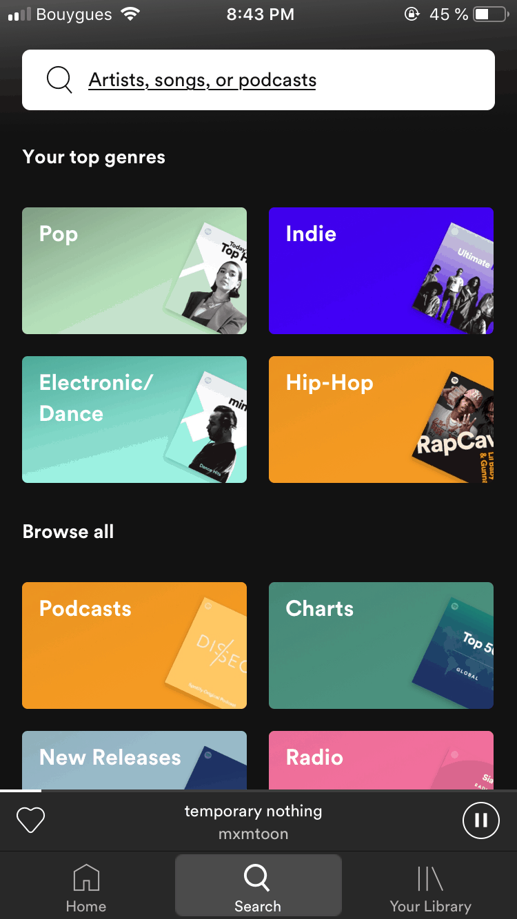 Search bar by Spotify