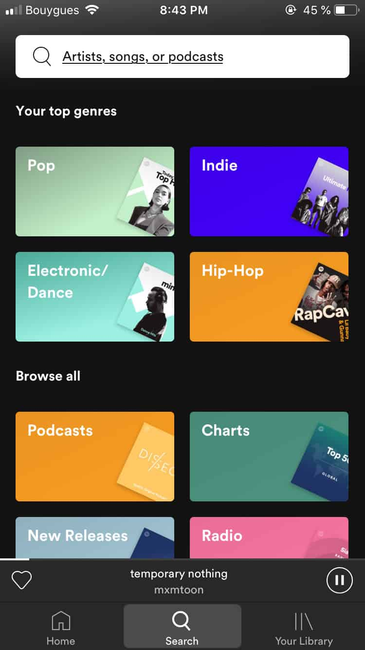 Search bar by Spotify Browse Categories iOS Mobile Music Player Search Select  - UI Garage - The database of UI