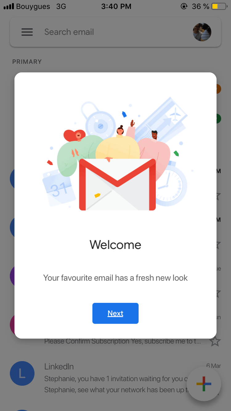 Welcome Message by Gmail