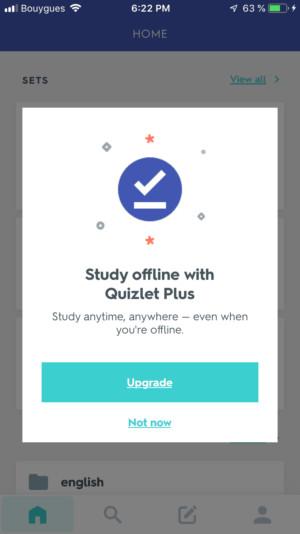 Notification by Quizlet from UIGarage