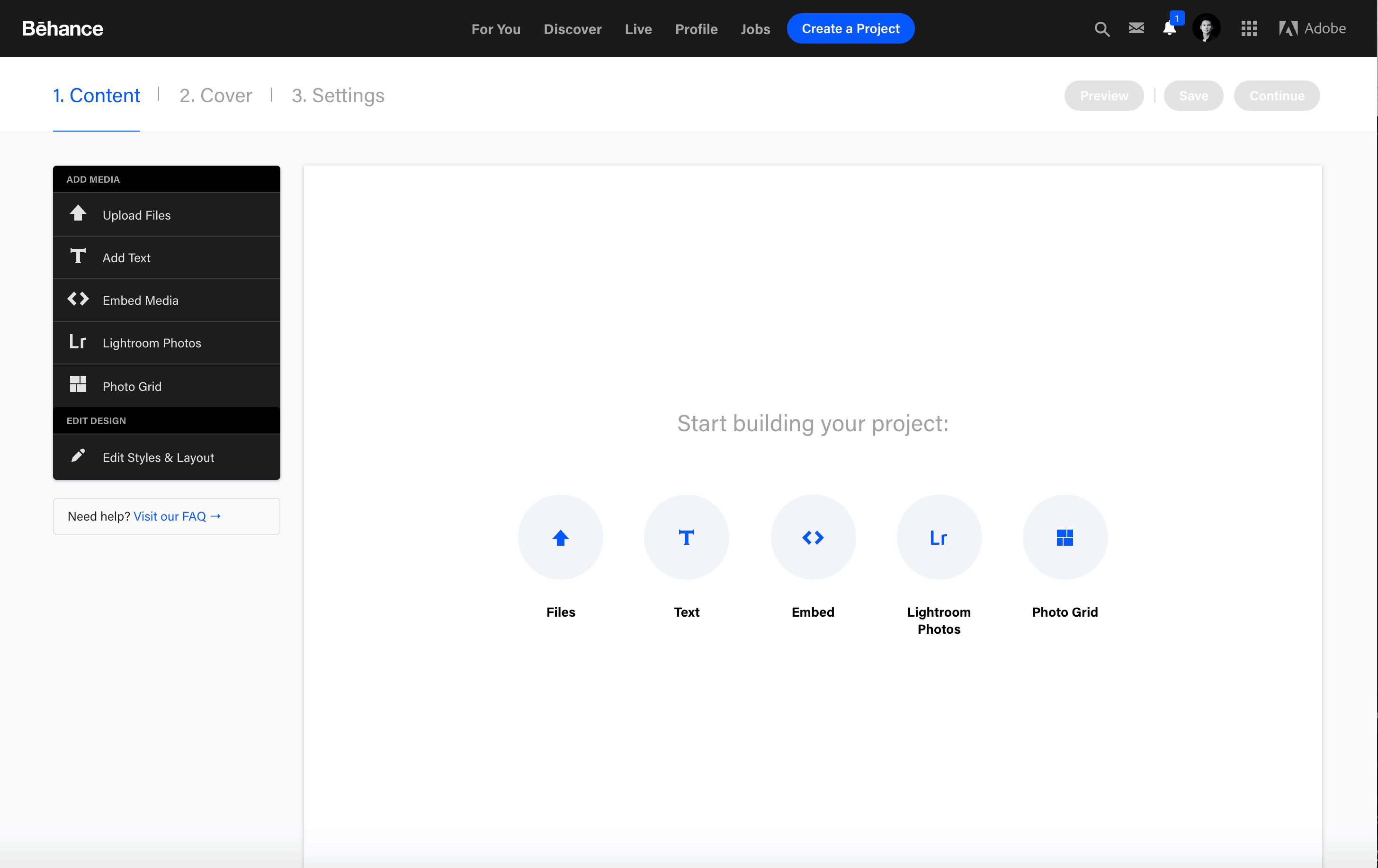 Create Project on Behance