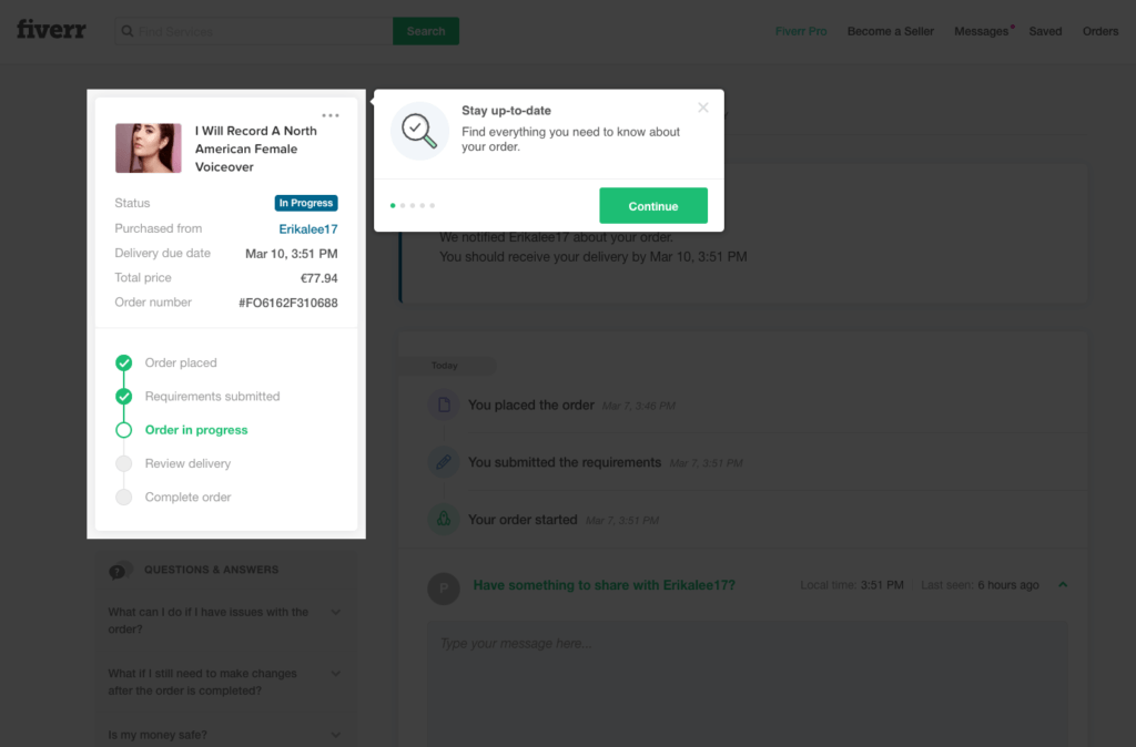 Walkthrough on Fiverr from UIGarage