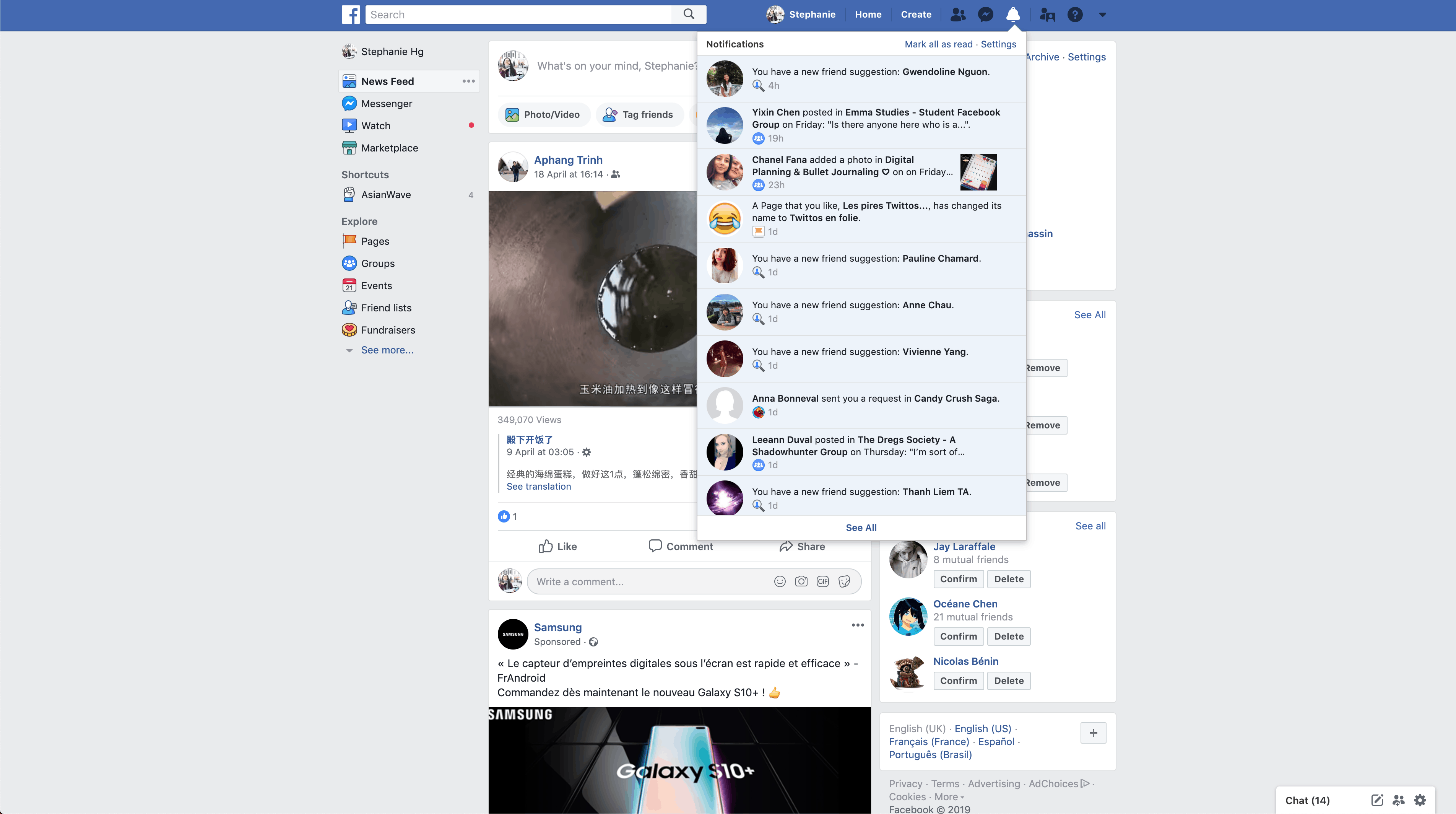 Notifications by Facebook