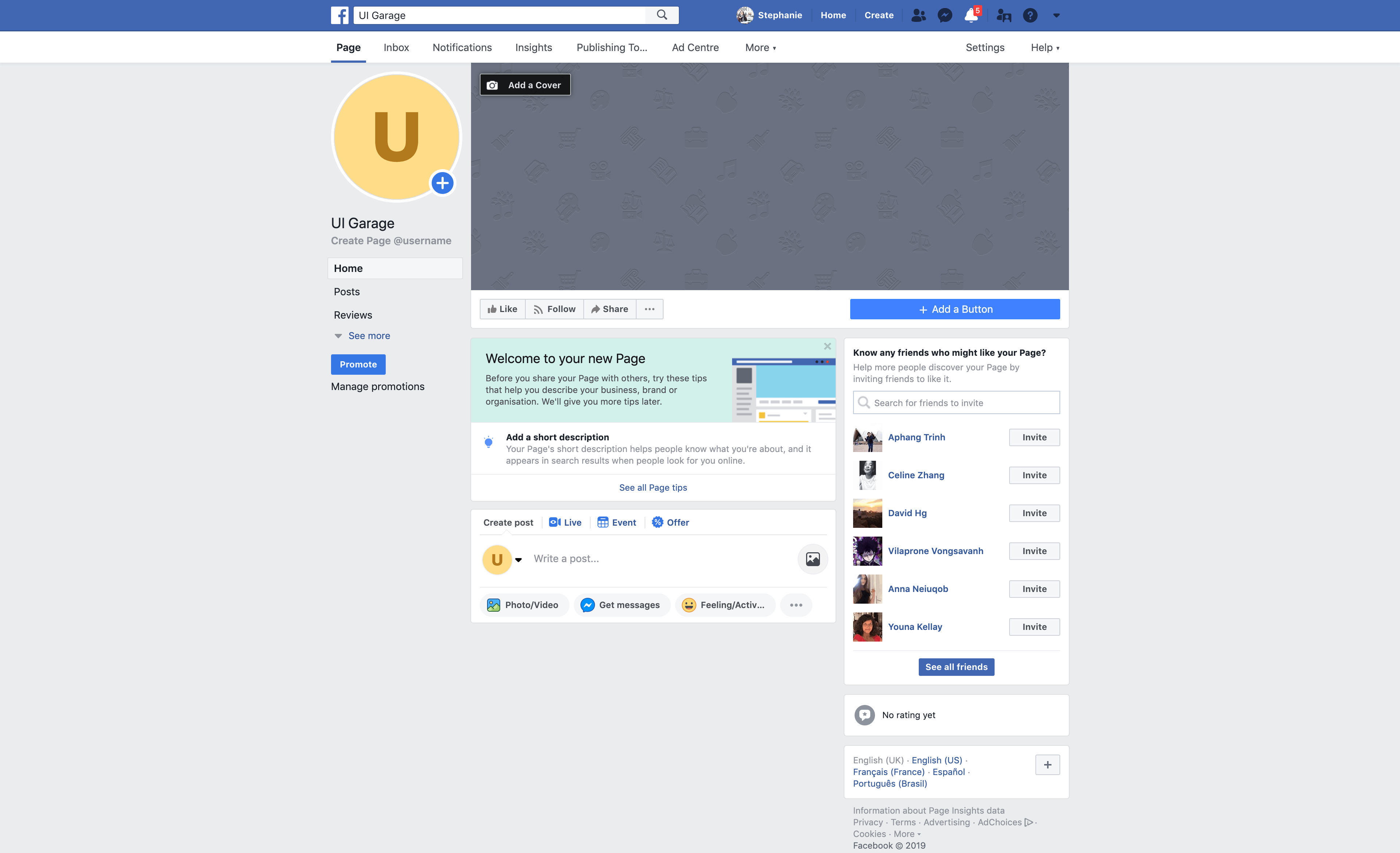 Create New Page from Facebook