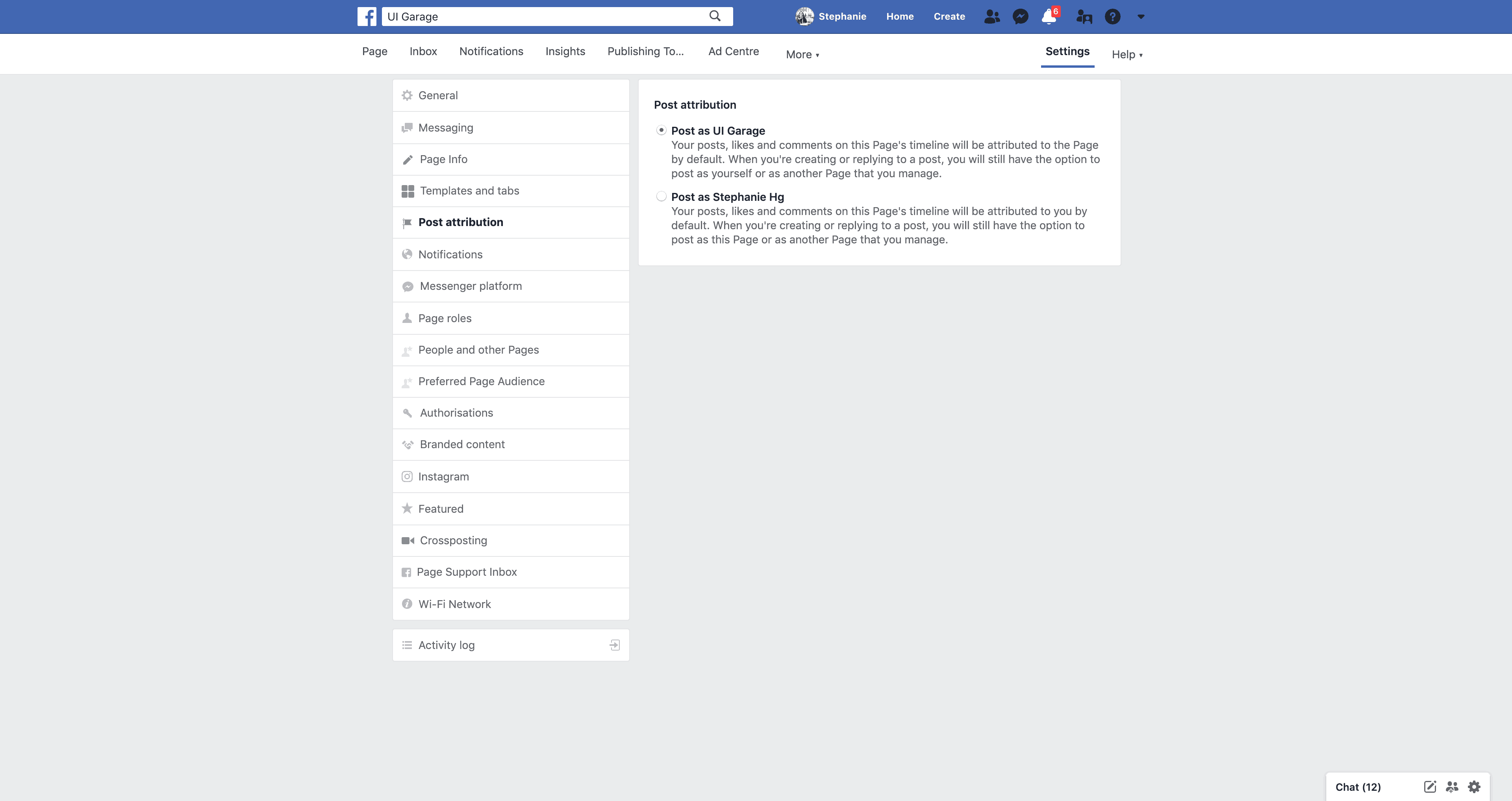 Page's Post Attribution Settings by Facebook