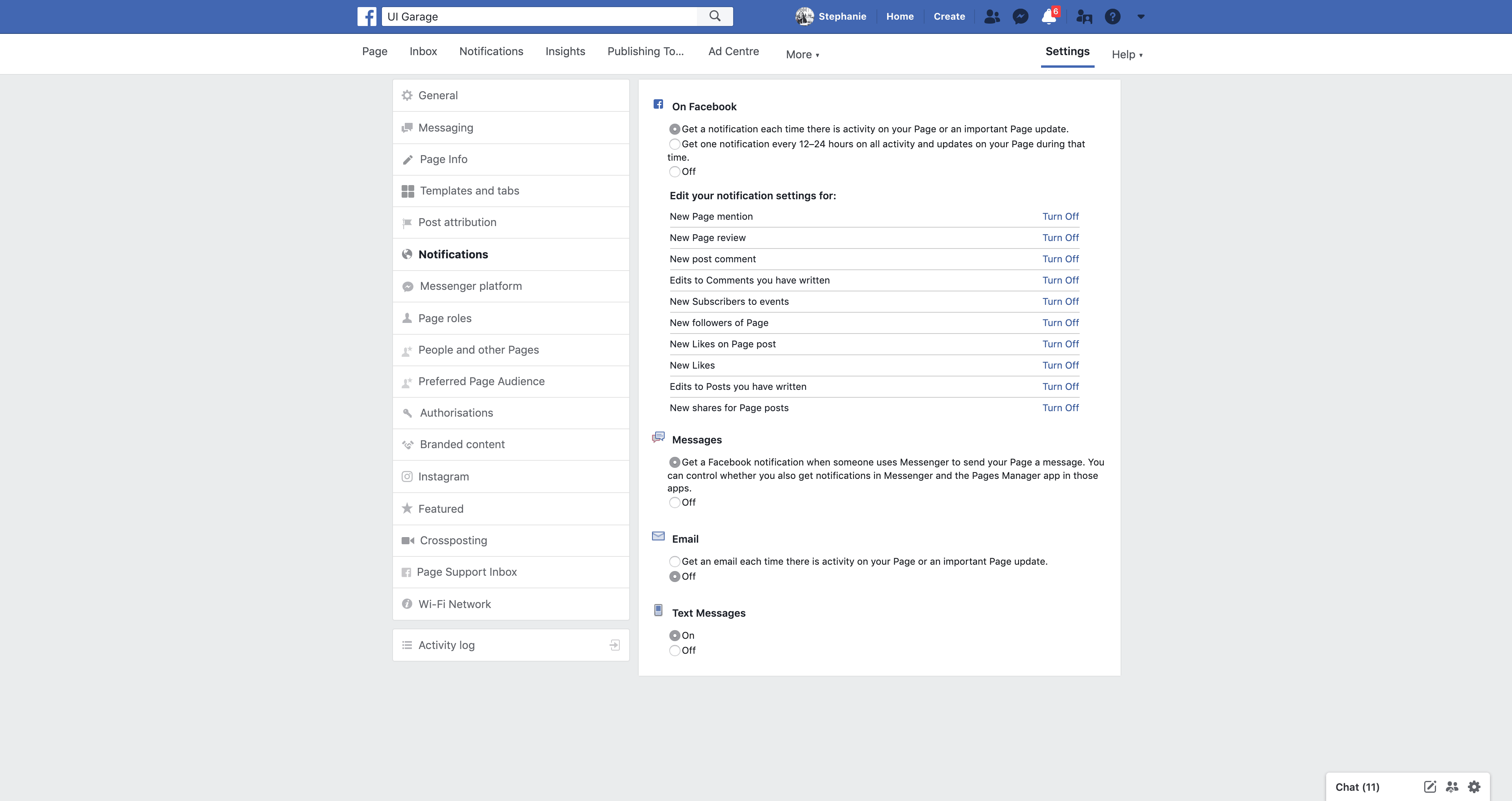 Page's Notifications by Facebook Settings  - UI Garage - The database of UI