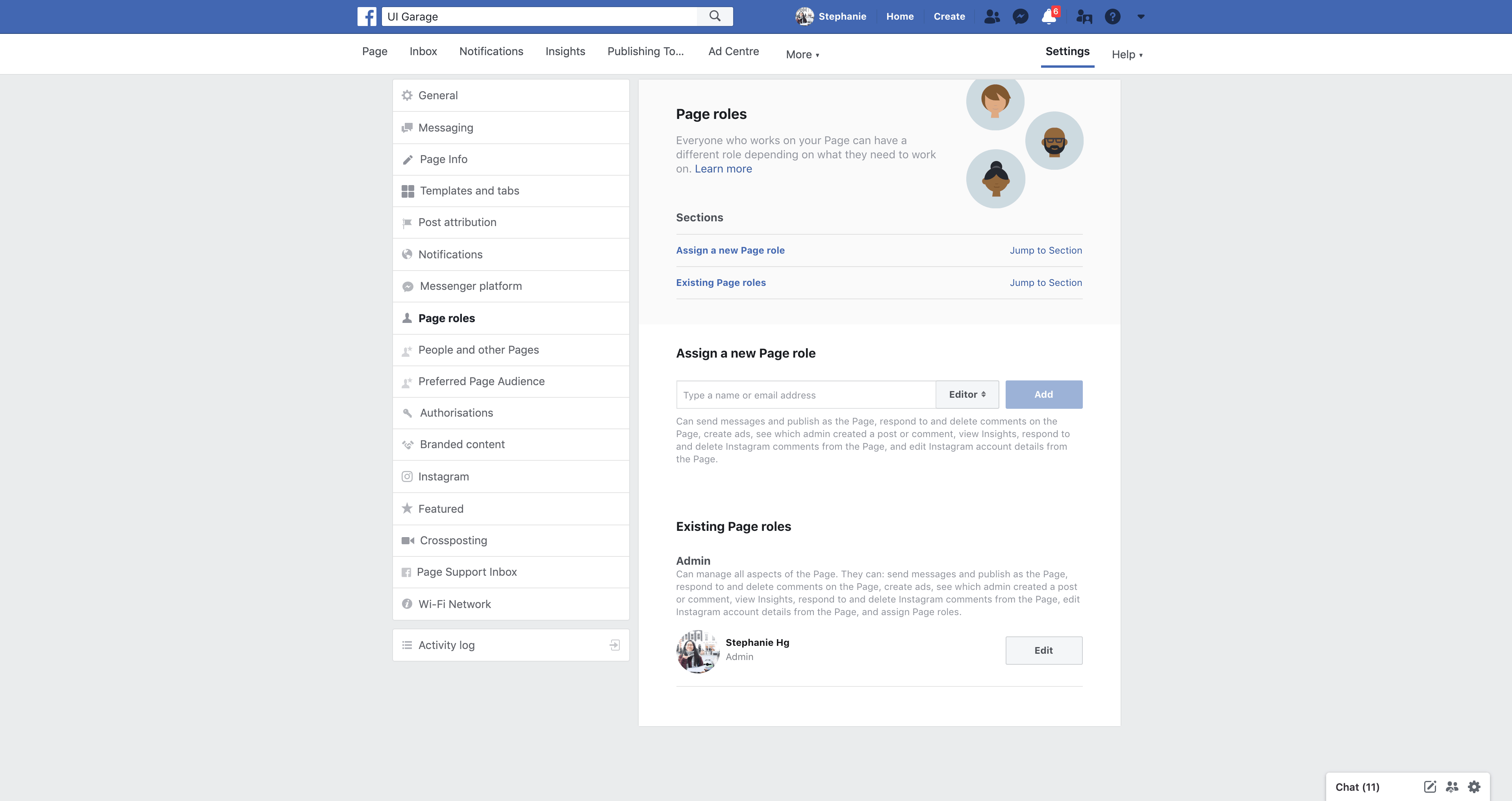 Page's Roles Settings by Facebook