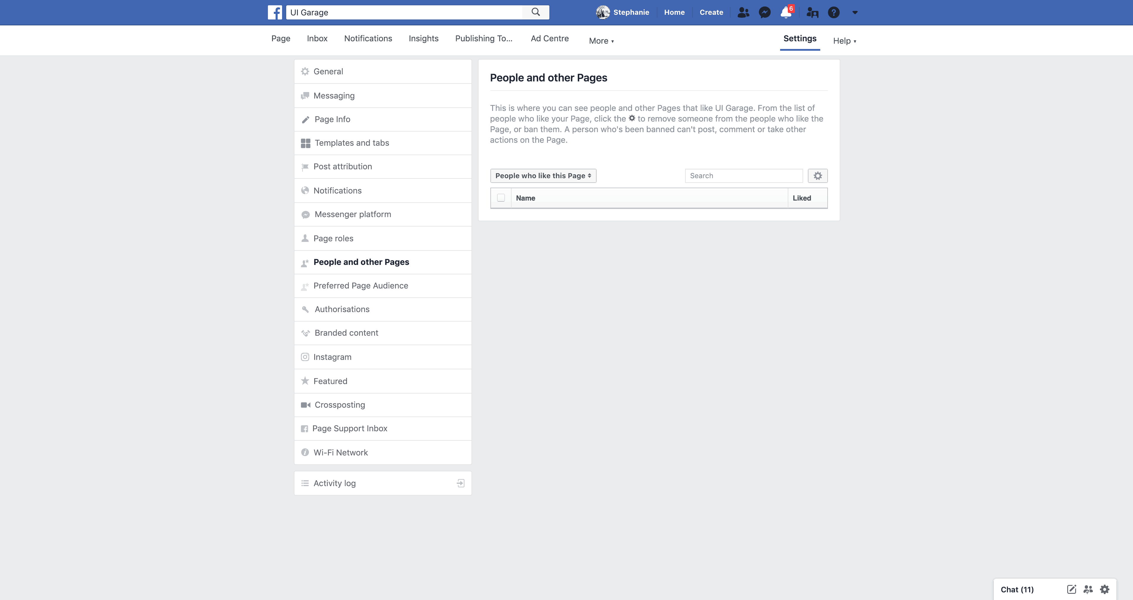 Page's people and other Pages Settings by Facebook Settings Web  - UI Garage - The database of UI